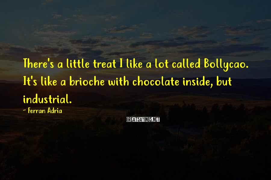 Ferran Adria Sayings: There's a little treat I like a lot called Bollycao. It's like a brioche with