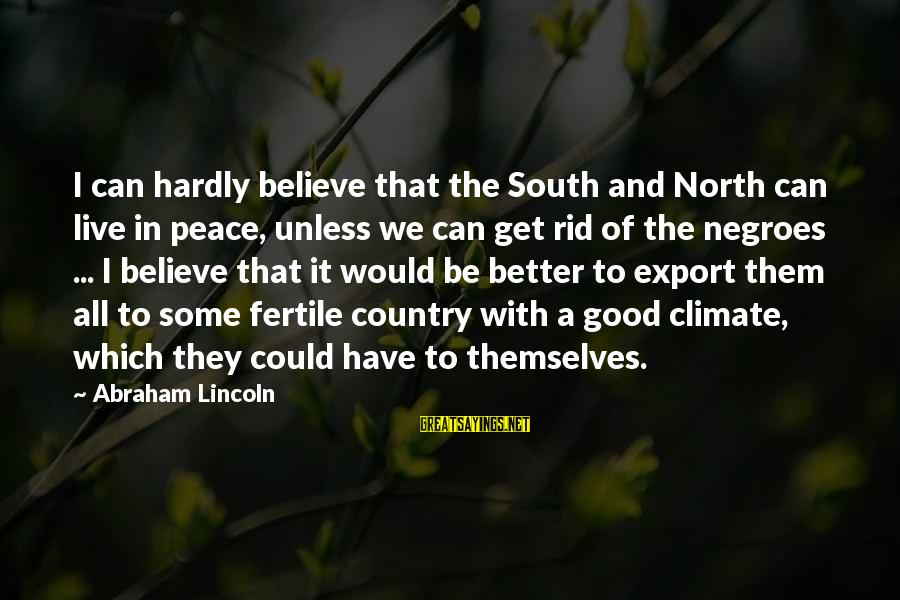 Fertile Sayings By Abraham Lincoln: I can hardly believe that the South and North can live in peace, unless we