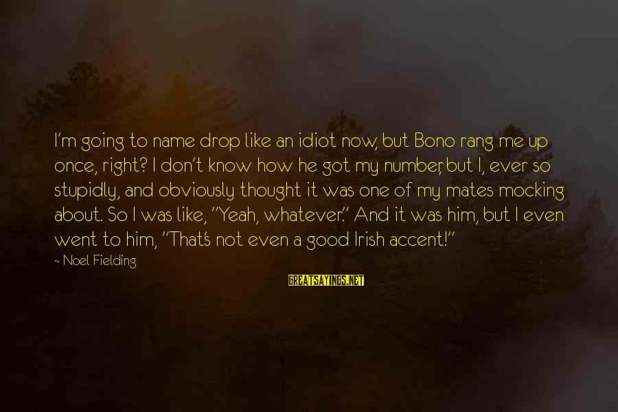 Fielding Sayings By Noel Fielding: I'm going to name drop like an idiot now, but Bono rang me up once,