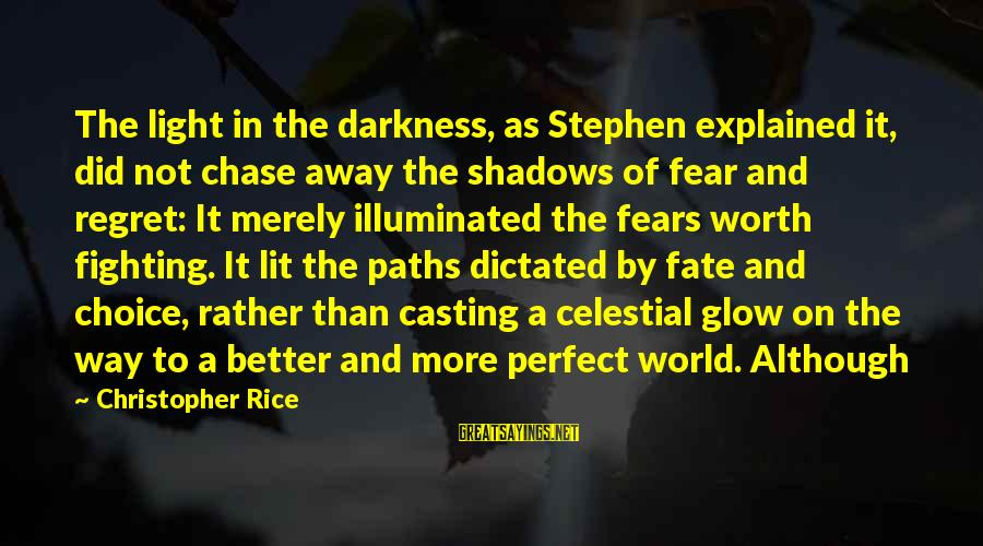 Fighting Your Fears Sayings By Christopher Rice: The light in the darkness, as Stephen explained it, did not chase away the shadows