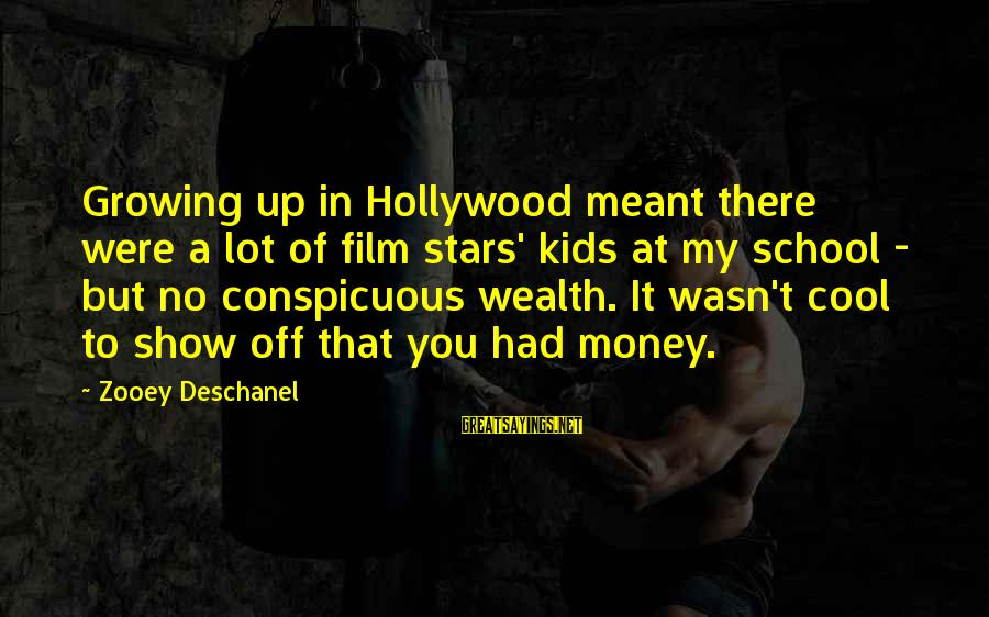 Film Stars Sayings By Zooey Deschanel: Growing up in Hollywood meant there were a lot of film stars' kids at my