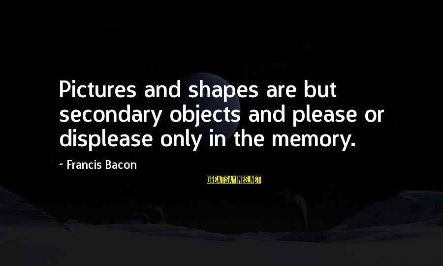 Final Year Farewell Sayings By Francis Bacon: Pictures and shapes are but secondary objects and please or displease only in the memory.