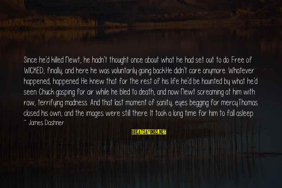 Finally It Happened Sayings By James Dashner: Since he'd killed Newt, he hadn't thought once about what he had set out to
