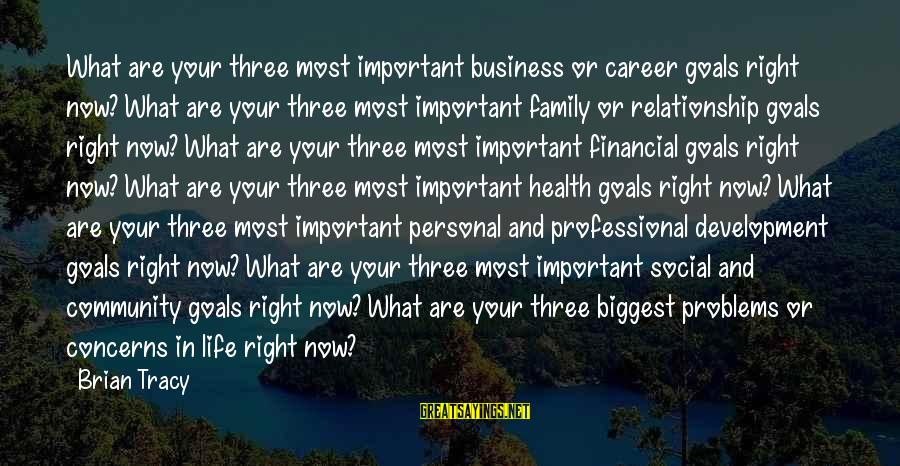 Financial Problems Sayings By Brian Tracy: What are your three most important business or career goals right now? What are your