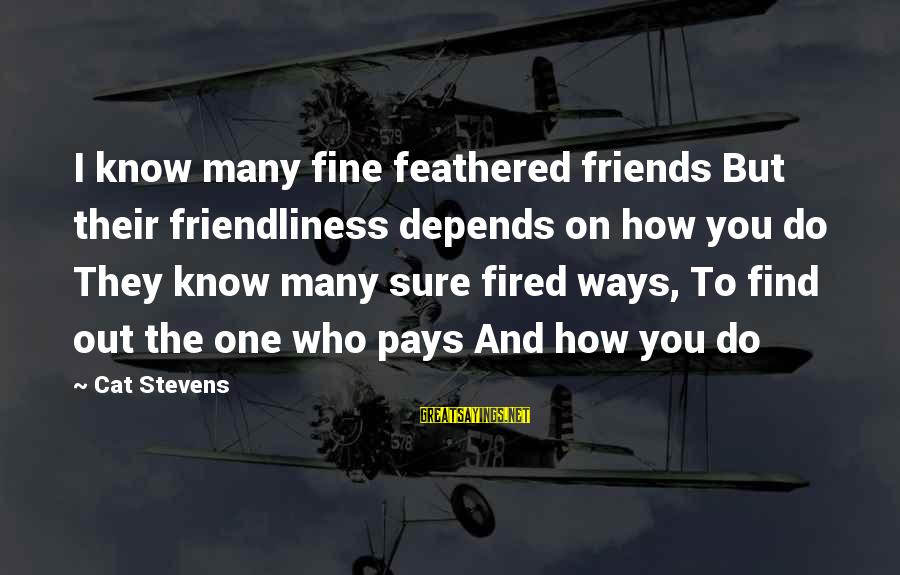 Find Out Who Your Friends Are Sayings By Cat Stevens: I know many fine feathered friends But their friendliness depends on how you do They