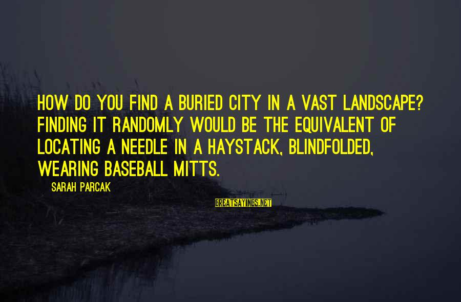 Finding A Needle In A Haystack Sayings By Sarah Parcak: How do you find a buried city in a vast landscape? Finding it randomly would