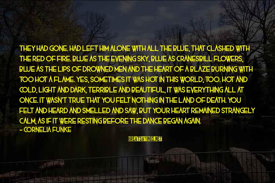Fire In The Sky Sayings By Cornelia Funke: They had gone. Had left him alone with all the blue, that clashed with the