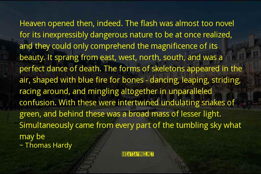 Fire In The Sky Sayings By Thomas Hardy: Heaven opened then, indeed. The flash was almost too novel for its inexpressibly dangerous nature