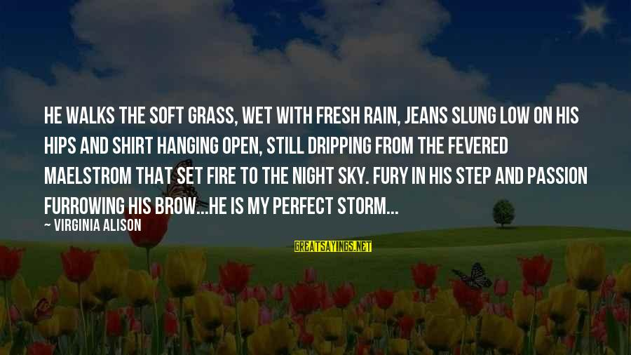 Fire In The Sky Sayings By Virginia Alison: He walks the soft grass, wet with fresh rain, jeans slung low on his hips