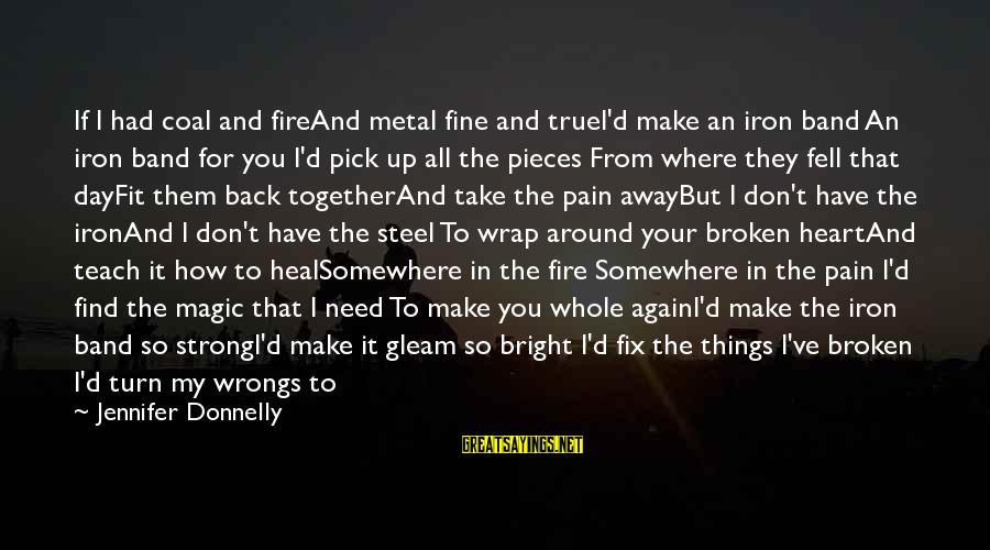 Fire In Your Heart Sayings By Jennifer Donnelly: If I had coal and fireAnd metal fine and trueI'd make an iron band An