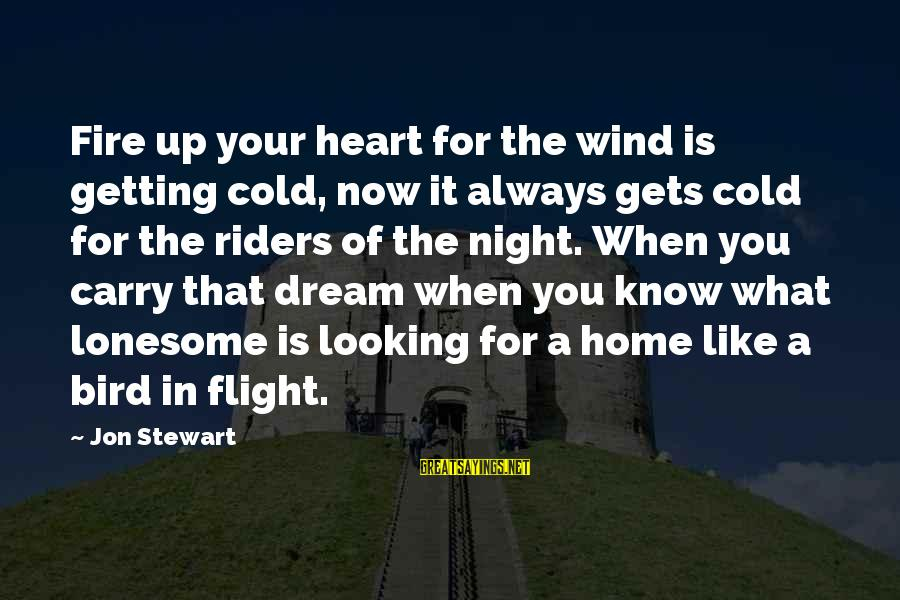 Fire In Your Heart Sayings By Jon Stewart: Fire up your heart for the wind is getting cold, now it always gets cold