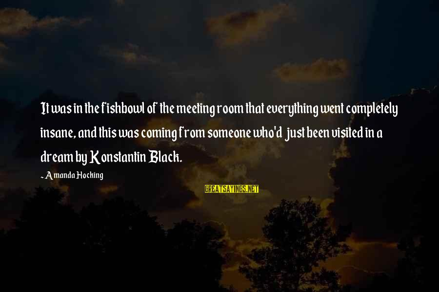 Fishbowl Sayings By Amanda Hocking: It was in the fishbowl of the meeting room that everything went completely insane, and