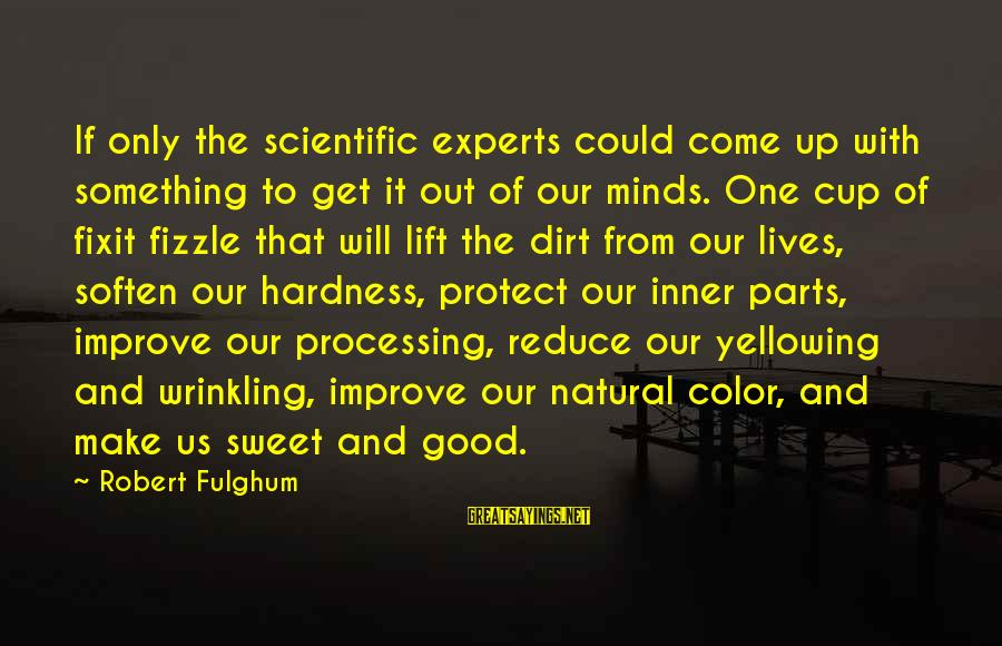 Fizzle Out Sayings By Robert Fulghum: If only the scientific experts could come up with something to get it out of