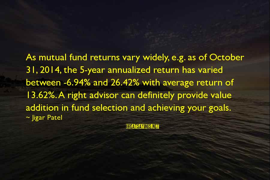 Flossily Sayings By Jigar Patel: As mutual fund returns vary widely, e.g. as of October 31, 2014, the 5-year annualized