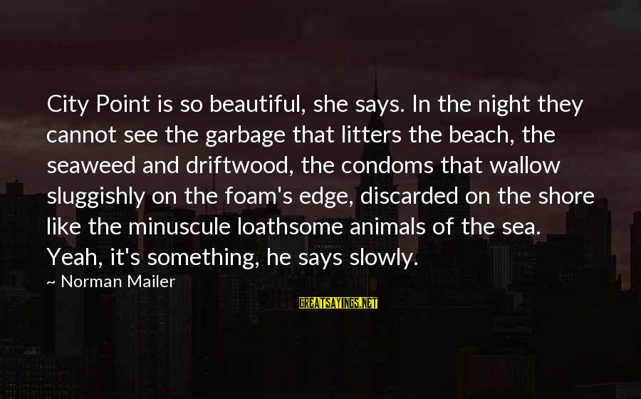 Foam Sayings By Norman Mailer: City Point is so beautiful, she says. In the night they cannot see the garbage