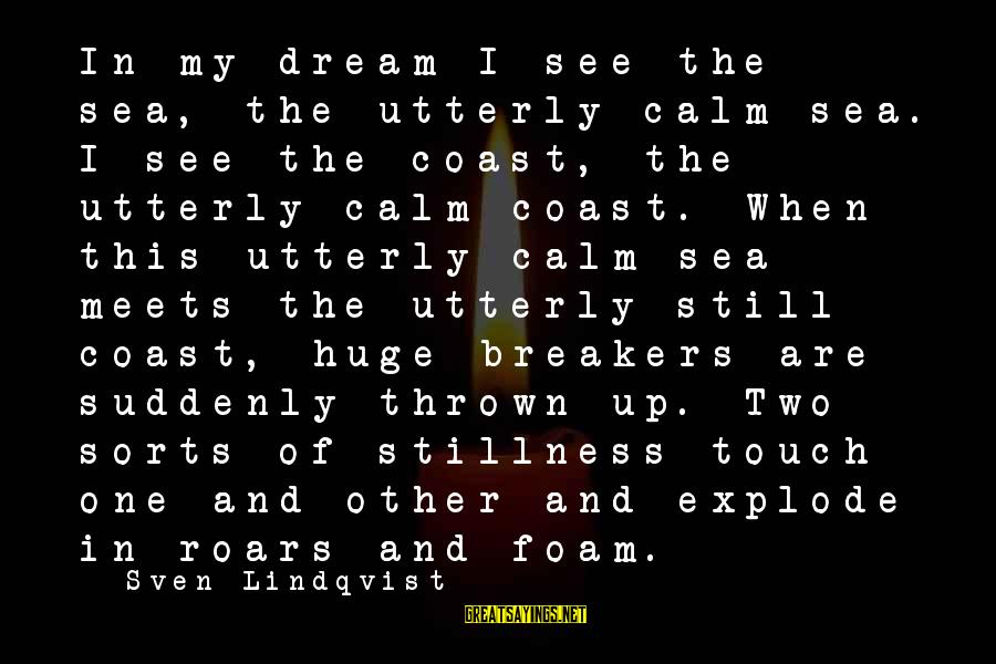 Foam Sayings By Sven Lindqvist: In my dream I see the sea, the utterly calm sea. I see the coast,