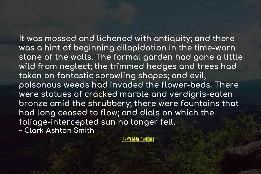 Foliage Sayings By Clark Ashton Smith: It was mossed and lichened with antiquity; and there was a hint of beginning dilapidation