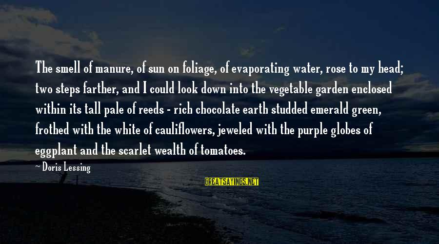 Foliage Sayings By Doris Lessing: The smell of manure, of sun on foliage, of evaporating water, rose to my head;