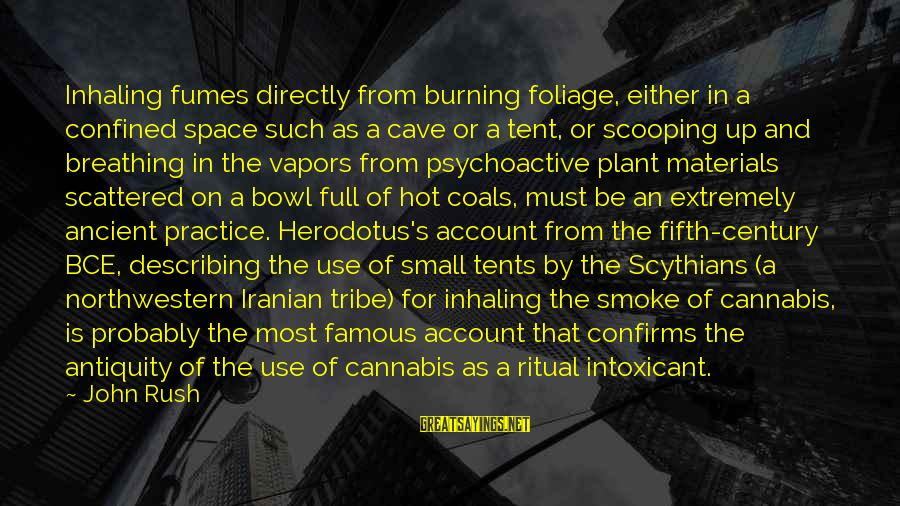 Foliage Sayings By John Rush: Inhaling fumes directly from burning foliage, either in a confined space such as a cave