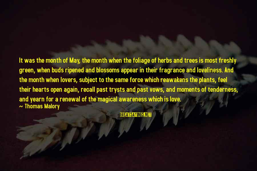 Foliage Sayings By Thomas Malory: It was the month of May, the month when the foliage of herbs and trees