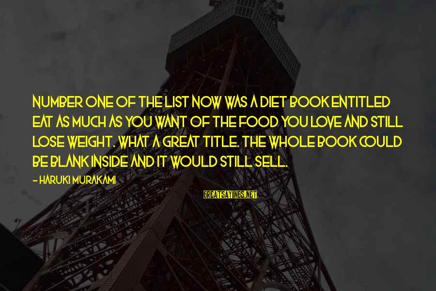Food And Diet Sayings By Haruki Murakami: Number one of the list now was a diet book entitled Eat as much as