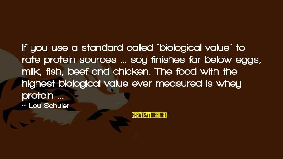 """Food And Diet Sayings By Lou Schuler: If you use a standard called """"biological value"""" to rate protein sources ... soy finishes"""