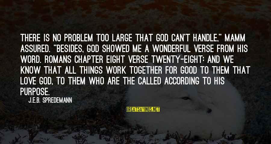 """Forgetting Anniversaries Sayings By J.E.B. Spredemann: There is no problem too large that God can't handle,"""" Mamm assured. """"Besides, God showed"""