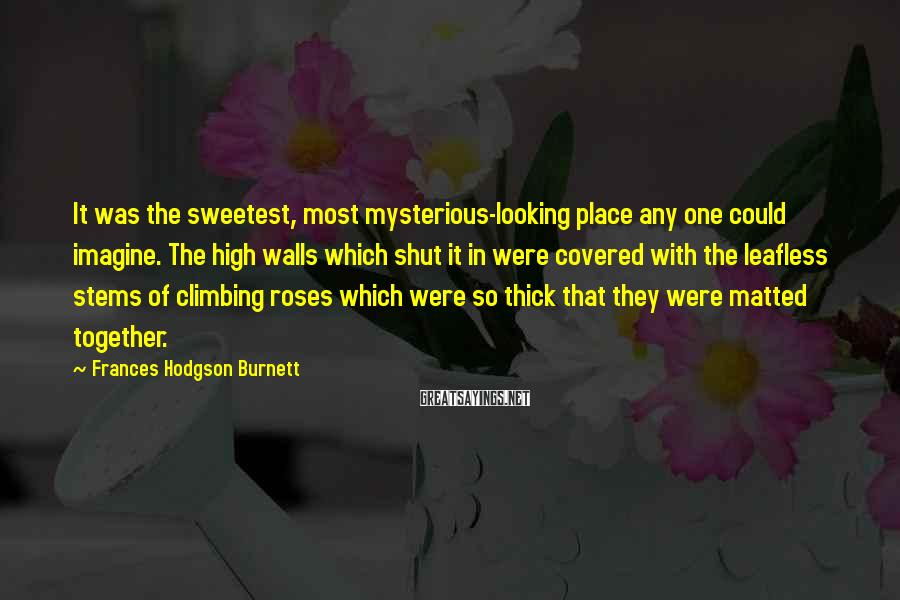 Frances Hodgson Burnett Sayings: It was the sweetest, most mysterious-looking place any one could imagine. The high walls which