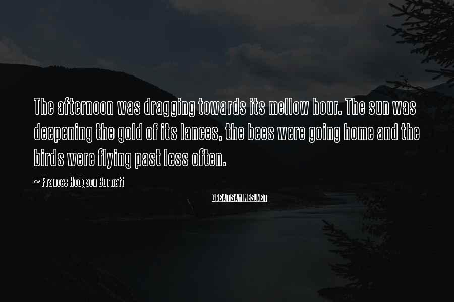 Frances Hodgson Burnett Sayings: The afternoon was dragging towards its mellow hour. The sun was deepening the gold of