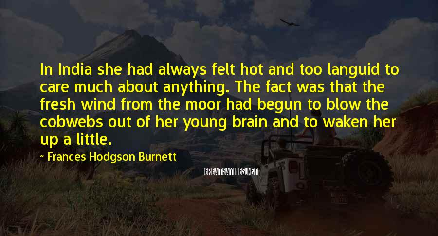 Frances Hodgson Burnett Sayings: In India she had always felt hot and too languid to care much about anything.