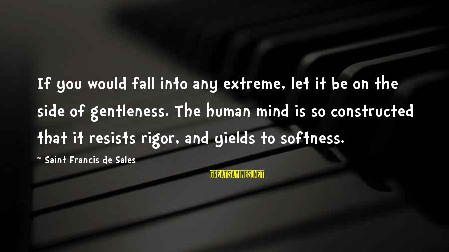 Francis De Sales Sayings By Saint Francis De Sales: If you would fall into any extreme, let it be on the side of gentleness.
