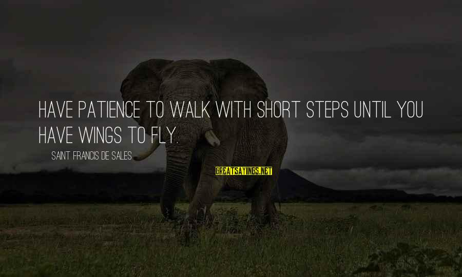 Francis De Sales Sayings By Saint Francis De Sales: Have patience to walk with short steps until you have wings to fly.