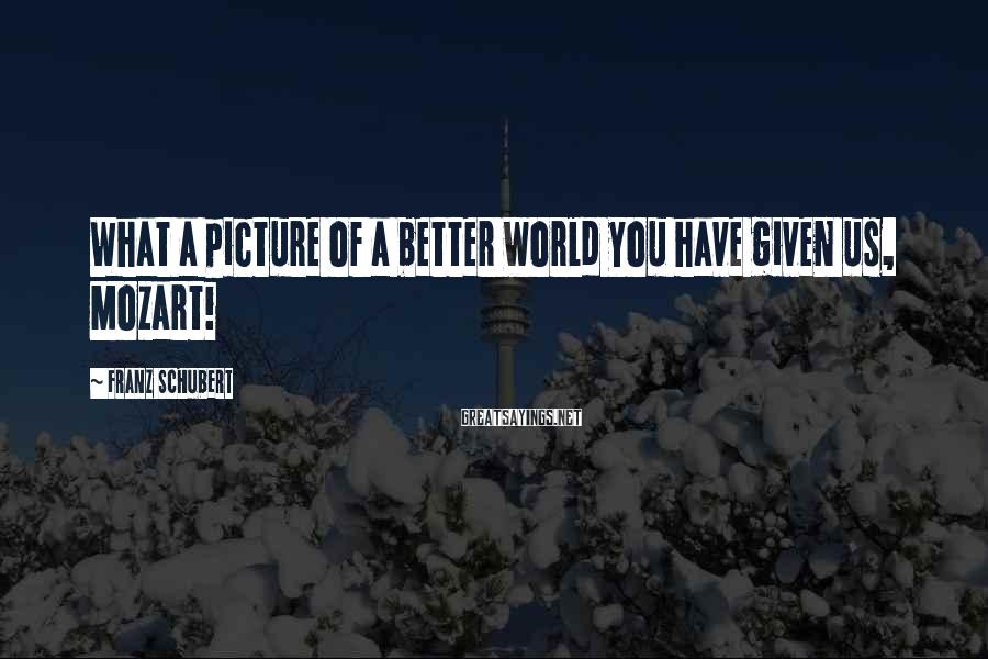 Franz Schubert Sayings: What a picture of a better world you have given us, Mozart!