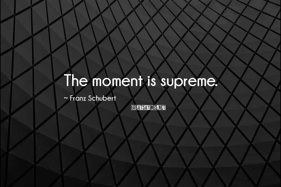 Franz Schubert Sayings: The moment is supreme.