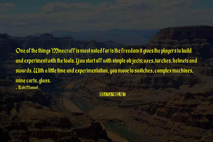 Freedom Experiment Sayings By Rob Manuel: One of the things 'Minecraft' is most noted for is the freedom it gives the