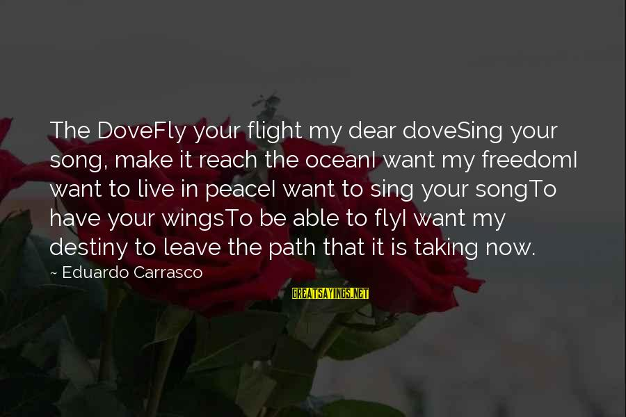Freedom In The Ocean Sayings By Eduardo Carrasco: The DoveFly your flight my dear doveSing your song, make it reach the oceanI want