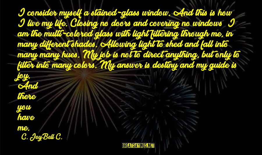 Freedom Life Sayings By C. JoyBell C.: I consider myself a stained-glass window. And this is how I live my life. Closing