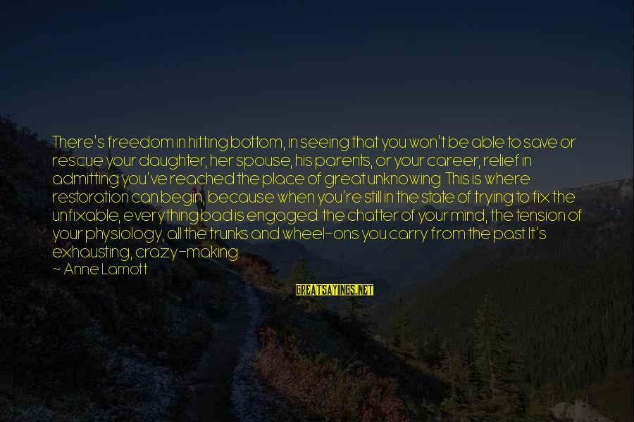 Freedom State Of Mind Sayings By Anne Lamott: There's freedom in hitting bottom, in seeing that you won't be able to save or