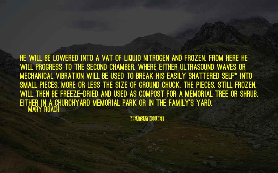 Freeze Sayings By Mary Roach: He will be lowered into a vat of liquid nitrogen and frozen. From here he