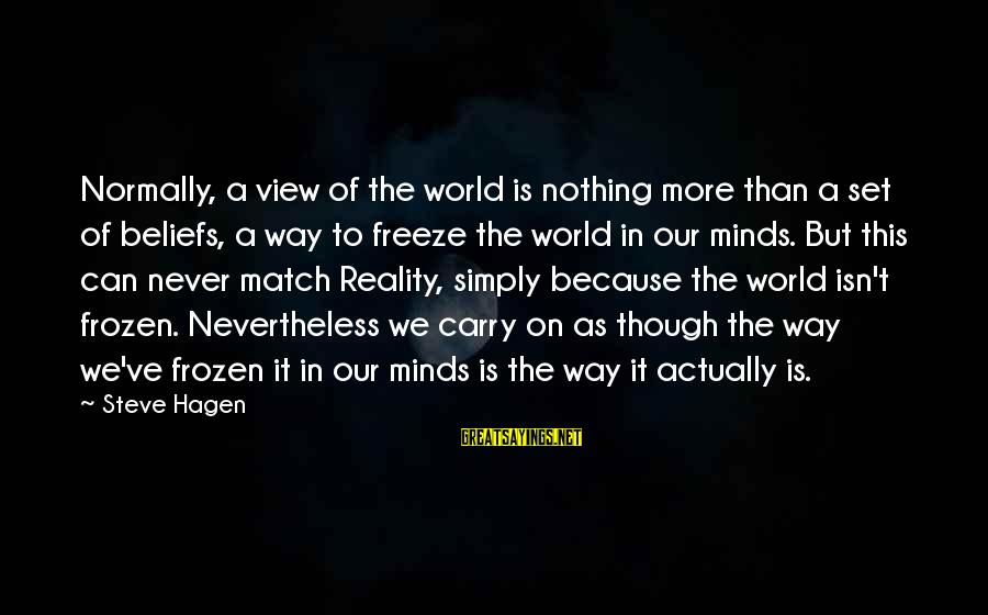Freeze Sayings By Steve Hagen: Normally, a view of the world is nothing more than a set of beliefs, a