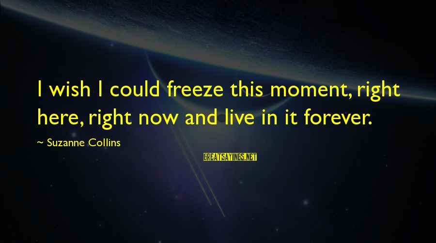 Freeze Sayings By Suzanne Collins: I wish I could freeze this moment, right here, right now and live in it