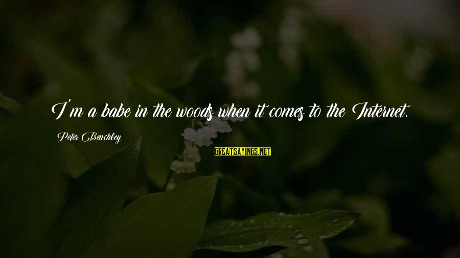 French Victory Sayings By Peter Benchley: I'm a babe in the woods when it comes to the Internet.