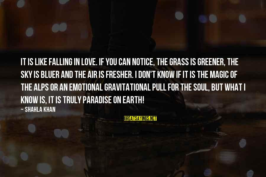 Fresher Sayings By Shahla Khan: It is like falling in love. If you can notice, the grass is greener, the