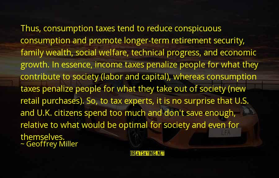 Friend Zone Relationship Sayings By Geoffrey Miller: Thus, consumption taxes tend to reduce conspicuous consumption and promote longer-term retirement security, family wealth,