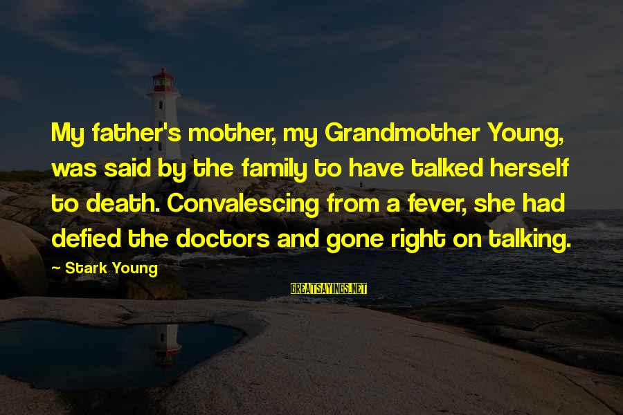 From Mother Sayings By Stark Young: My father's mother, my Grandmother Young, was said by the family to have talked herself