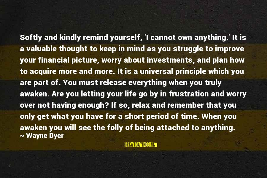 Frustration In Life Sayings By Wayne Dyer: Softly and kindly remind yourself, 'I cannot own anything.' It is a valuable thought to