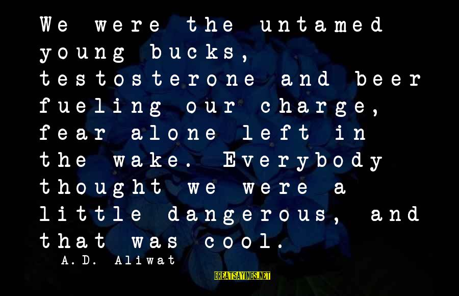 Fueling Sayings By A.D. Aliwat: We were the untamed young bucks, testosterone and beer fueling our charge, fear alone left