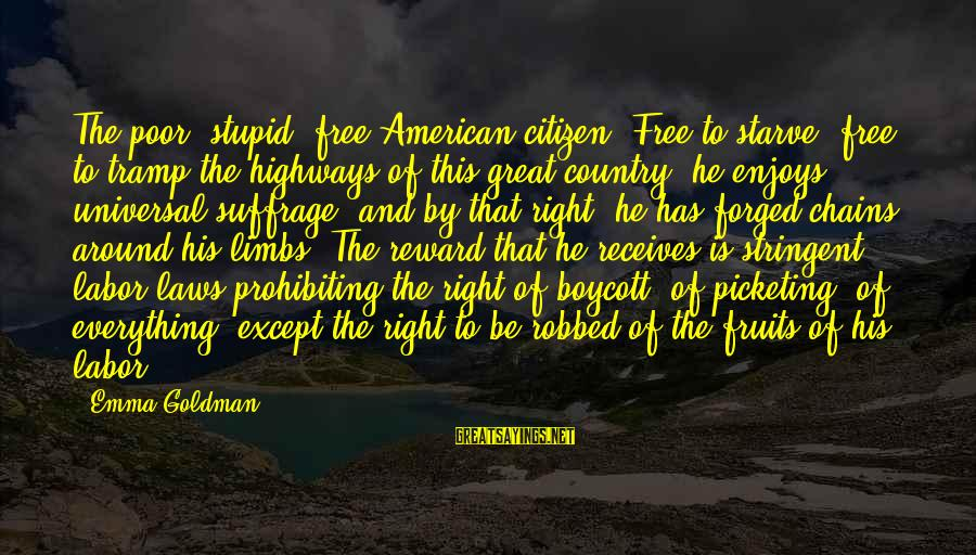 Funny Annie Dillard Sayings By Emma Goldman: The poor, stupid, free American citizen! Free to starve, free to tramp the highways of