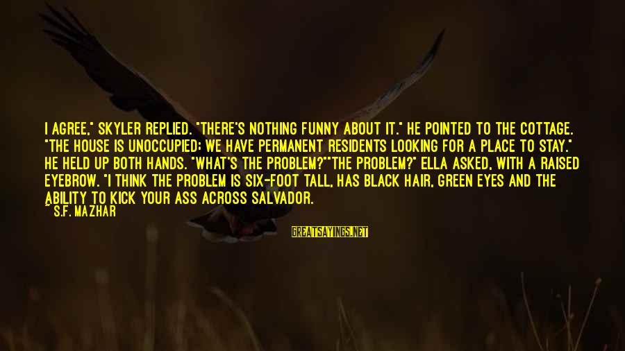 """Funny Black Sayings By S.F. Mazhar: I agree,"""" Skyler replied. """"There's nothing funny about it."""" He pointed to the cottage. """"The"""