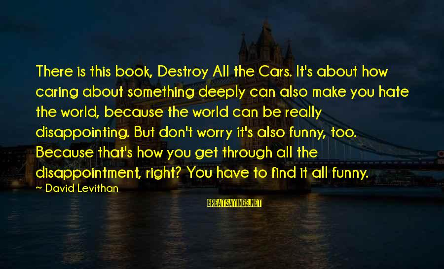 Funny I Don Hate You Sayings By David Levithan: There is this book, Destroy All the Cars. It's about how caring about something deeply